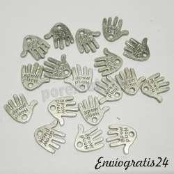 8 colgantes manos plateados