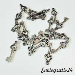 20 colgantes de llave plateado