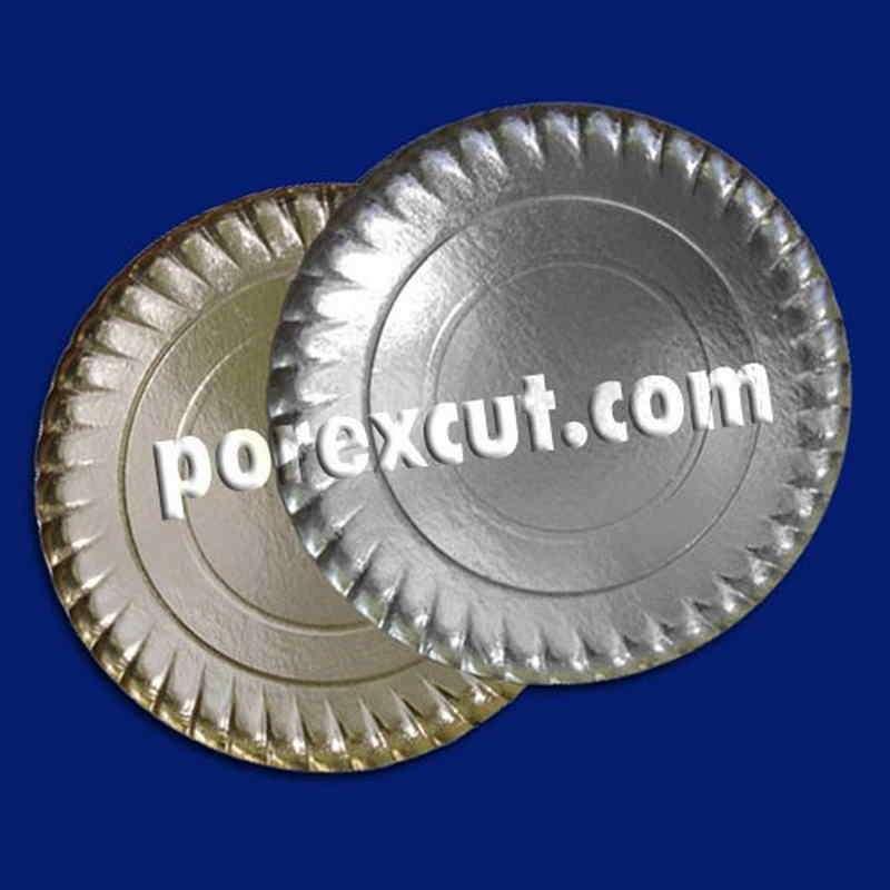 Plato cartón estriado oro/blanco 18 cms para tartas