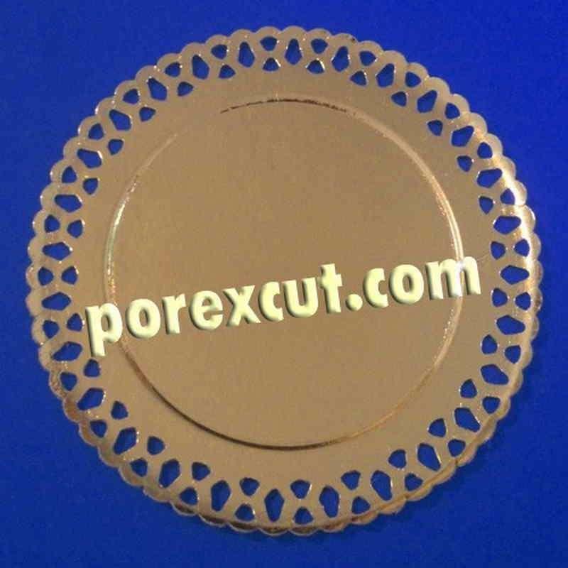 Plato Oro y blanco de cartón con bordes Decorados 20 cm. para tartas