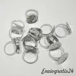 16 bases anillo plateado
