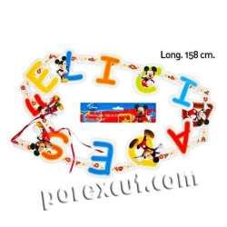 Guirnalda Mickey felicidades para celebraciones infantiles cumpleaños, efemerides