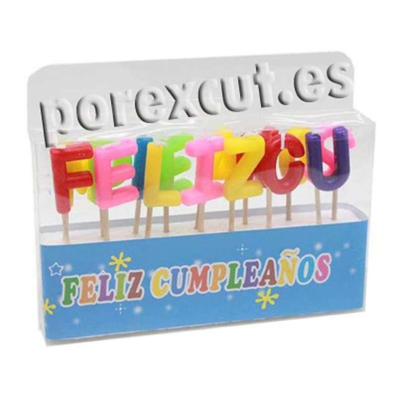 """Velas de colores """"Feliz Cumpleaño"""