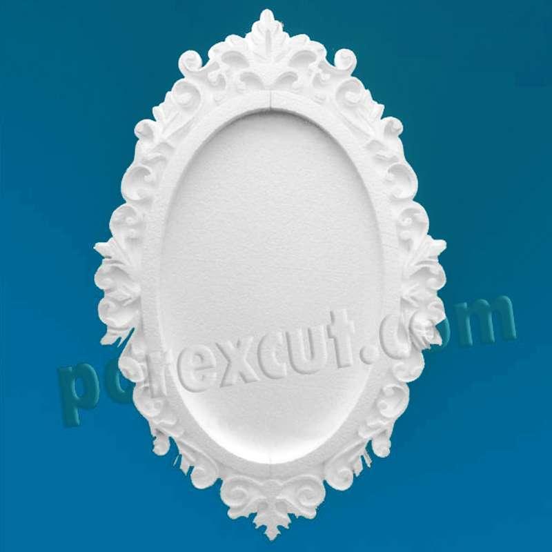 Marco barroco de porexpan, poliestireno expandido. corcho blanco, poliespan