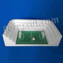 Estadio de futbol abierto de porexpan, campo de futbol