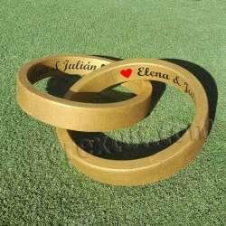Dos anillos rotulados dorados