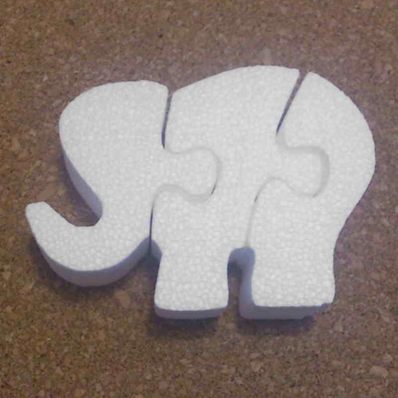 Elefante puzzle de porexpan poliespan corcho blanco porex porexcut