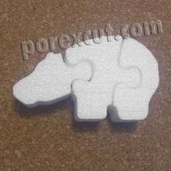 Hipopótamo puzzle de porexpan poliespan corcho blanco porex porexcut