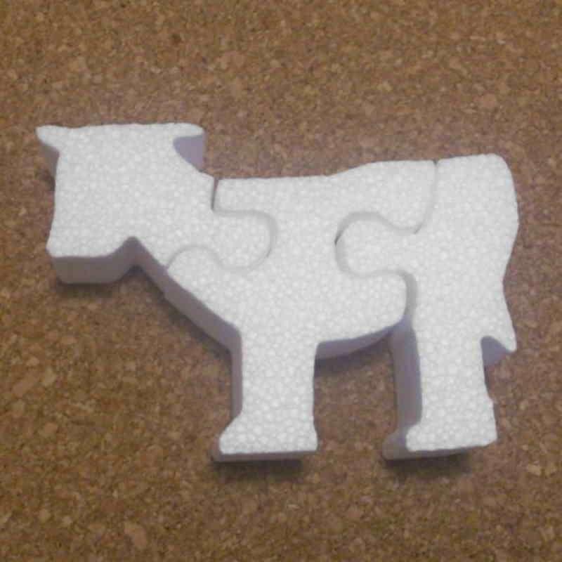Vaca de porexpan tipo puzzle poliespan corcho blanco porex porexcut