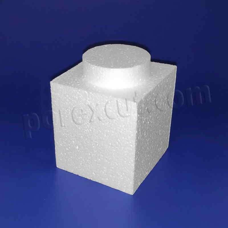Pieza 1x1 elevada tipo lego de porexpan poliespan corcho blanco porex porexcut