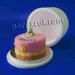 caja redonda de porexpan poliespan corcho blanco