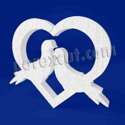 Palomas corazón de porexpan poliespan corcho blanco poliestireno expandido