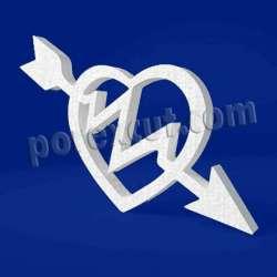 Corazón flecha de porexpan poliespan corcho blanco poliestireno expandido