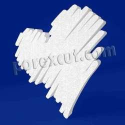 Corazón borroso de porexpan poliespan corcho blanco poliestireno expandido