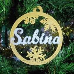 Bola dorada de navidad con texto personalizable impreso en 3D