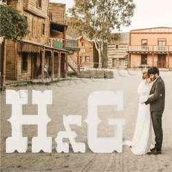 Letras de corcho grandes para bodas, iniciales para eventos, celebraciones western