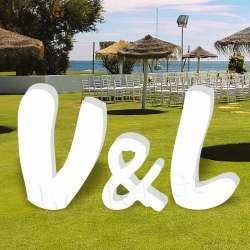 Letras de corcho grandes para bodas, iniciales para eventos, celebraciones muccky