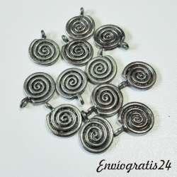 12 colgantes espiral plateado