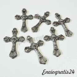 6 Colgantes cruz plateada